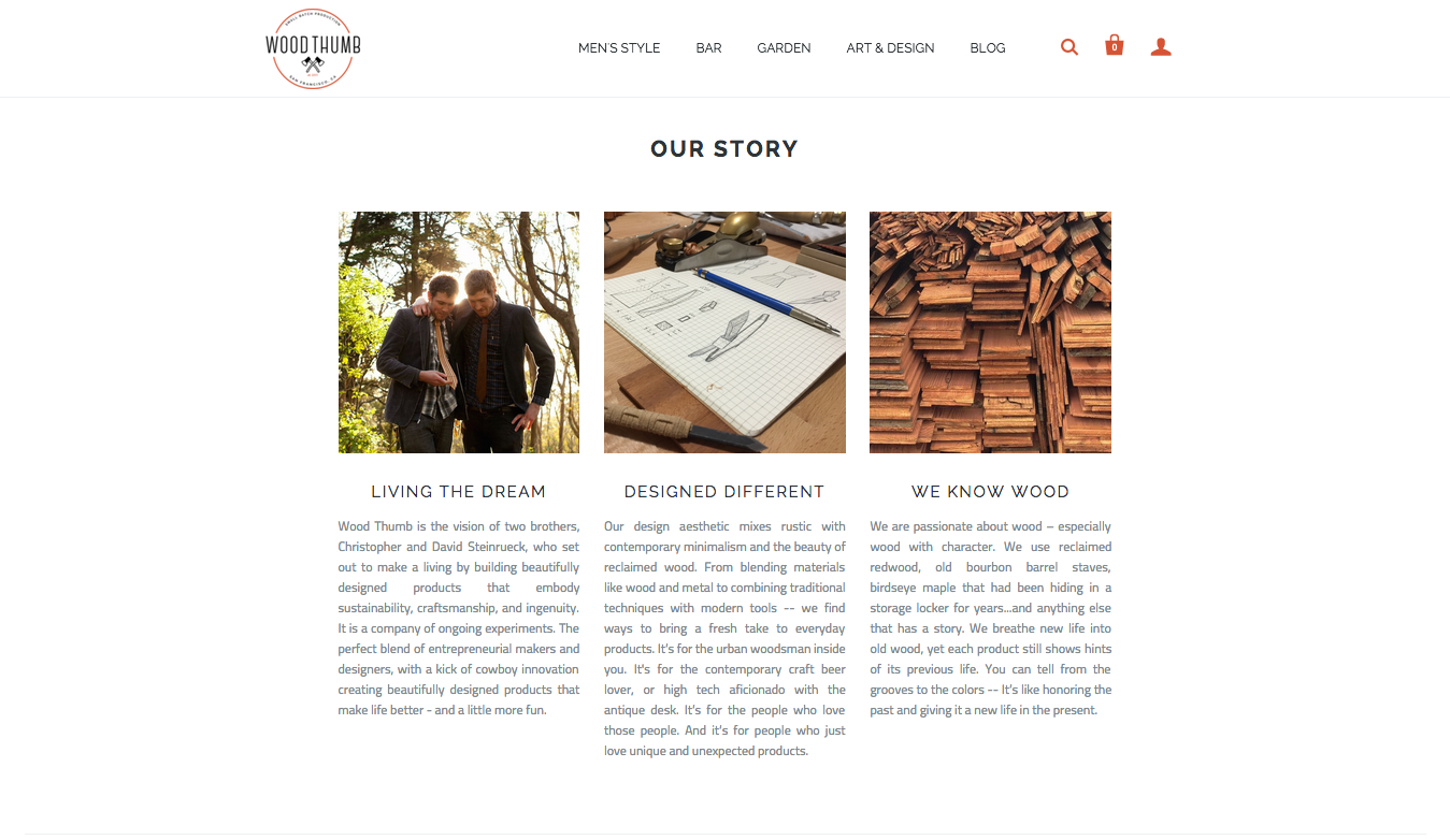 I created content to show off Wood Thumb\'s great origin story and the values of the company.